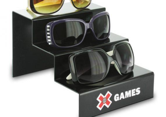 ME083 Preto – Expositor de vitrine para 3 óculos