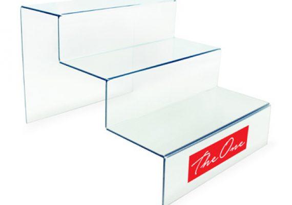 ME083 Transparente – Expositor de vitrine para 3 óculos