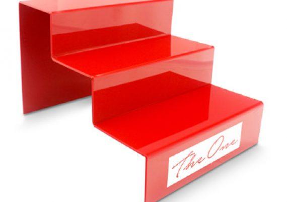 ME083 Vermelho – Expositor de vitrine para 3 óculos