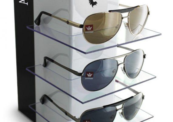 ME140 – Expositor de vitrine para 3 óculos