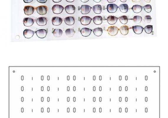ME169 – Expositor de parede para 30 óculos
